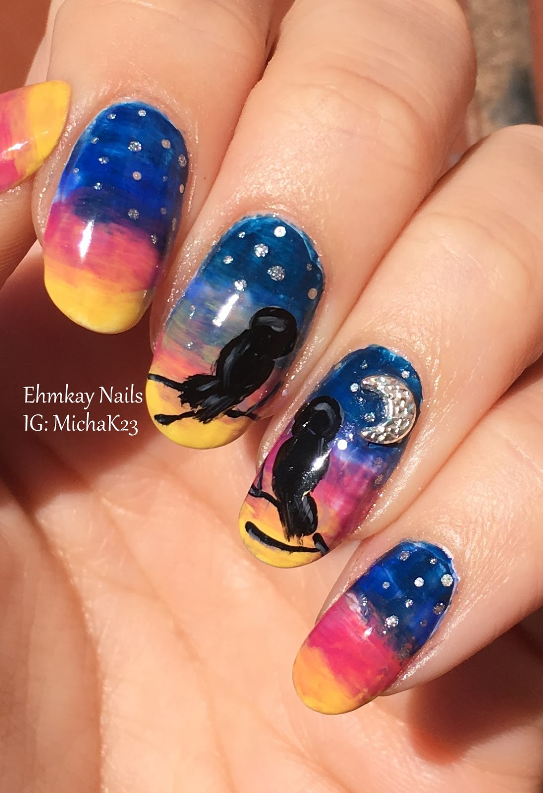 ehmkay nails: Valentine\'s Day Nail Art: Love Birds with Moon Studs ...