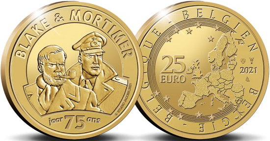 Belgium golden 25 euro 2021 - 75 years of Blake & Mortimer