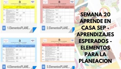 APRENDE EN CASA SEP - APRENDIZAJES ESPERADOS - ELEMENTOS PARA LA PLANEACION SEMANA 20