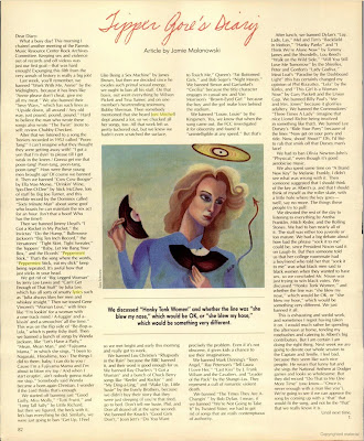 Tipper Gore s Diary  — a page from the January 1986 issue of Spin magazine.