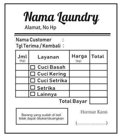 Kumpulan Contoh Nota Laundry Lengkap Dan Gratis Tips Mendesain