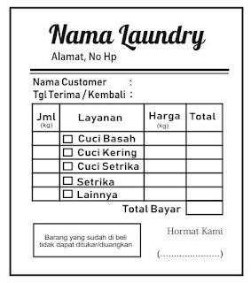 Contoh Nota Laundry Hitam Putih