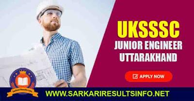 UKSSSC Junior Engineer Uttarakhand Apply Online 2020