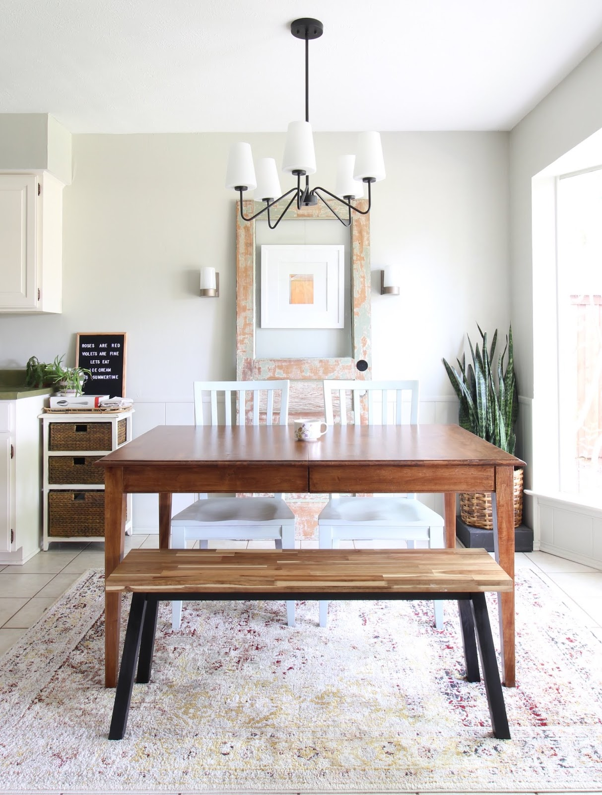 We've lived in our house a whole year!! Check out the tour and a round up of projects I've done. It's been great! | House Homemade dining room