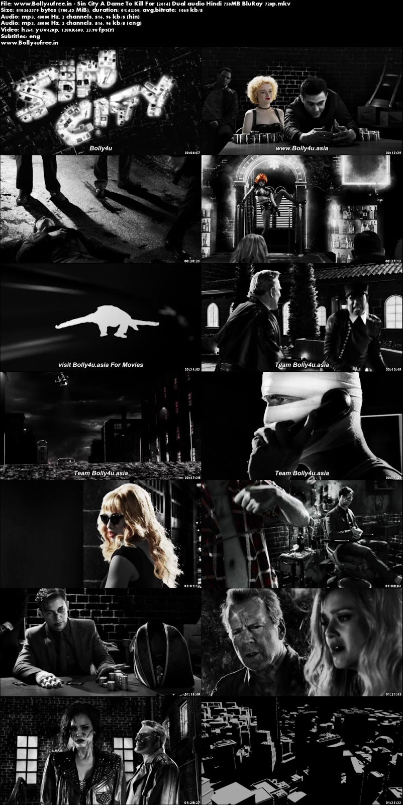 Sin City A Dame To Kill For 2014 Hindi Dual Audio 750MB BluRay 720p