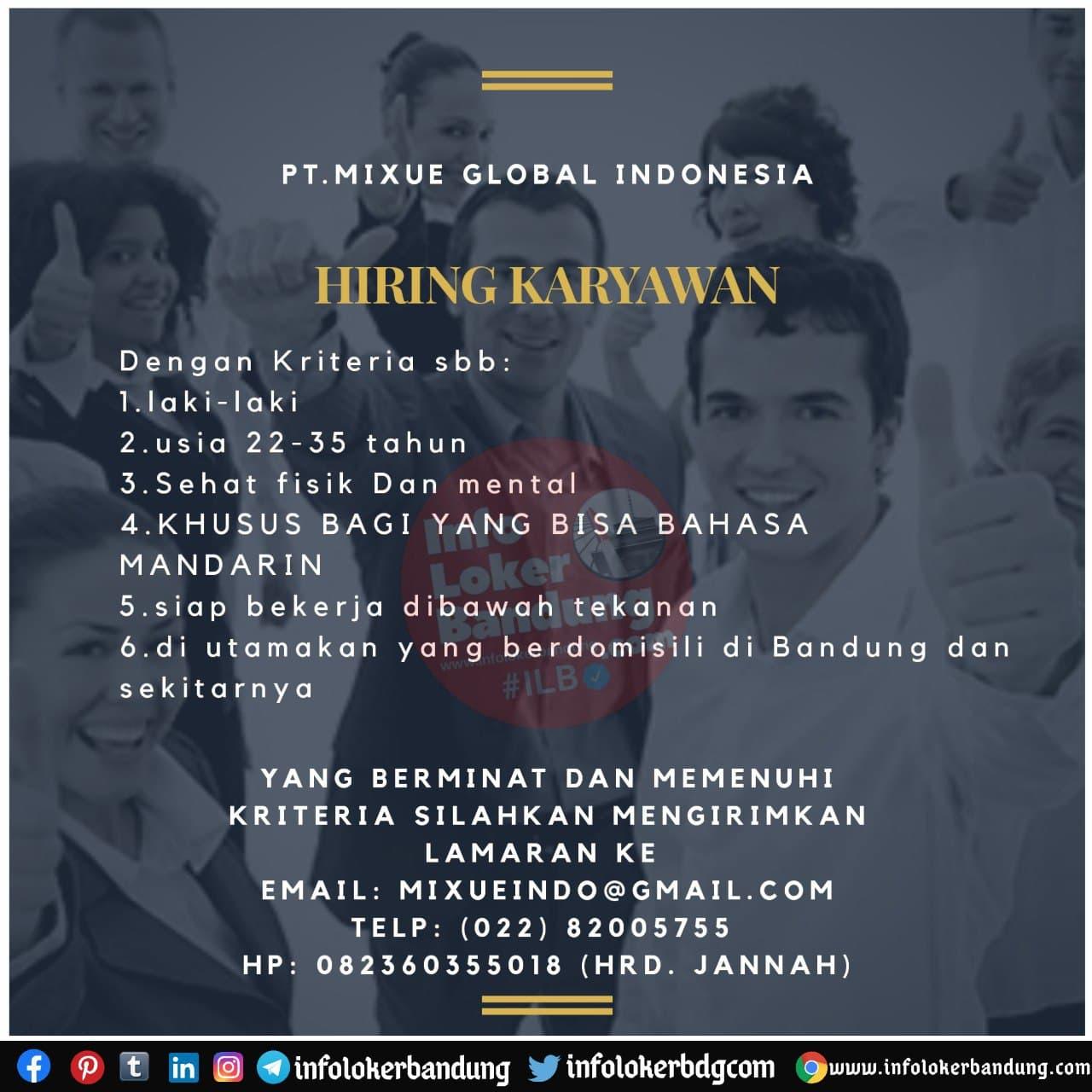 Lowongan Kerja PT. Mixue Global Indonesia Bandung November 2020