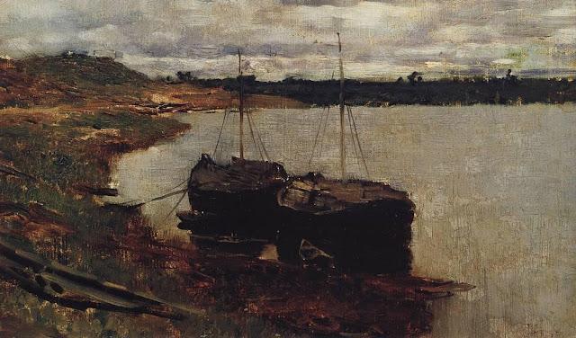 Исаак Ильич Левитан - Баржи. Волга. 1889