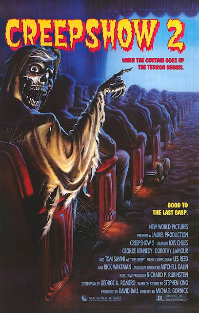 Movie poster for the 1987 horror anthology film Creepshow 2, starring Tom Savini, George Kennedy, Holt McCallany, Lois Chiles, and Stephen King