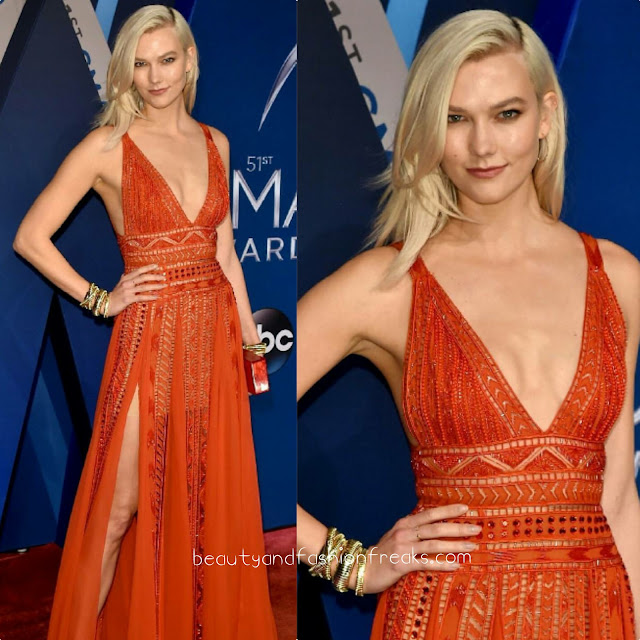 Karlie Kloss Glitters in Red Elie Saab gown at CMA 2017