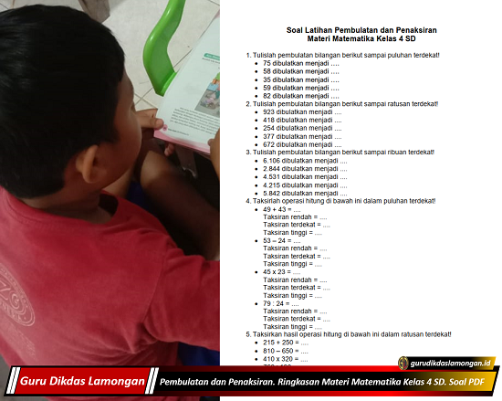 Pembulatan dan Penaksiran. Ringkasan Materi Matematika Kelas 4 SD. Soal PDF