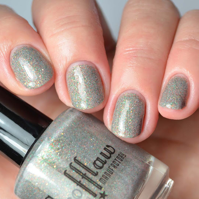 grey glitter nail polish four finger swatch