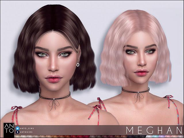 Anto - Meghan (Hairstyle) Анто - Меган (Прическа) для The Sims 4 Короткие волнистые волосы для ваших симов 27 цветов работает с шляп гладкой такелаж тени включены карты Автор: Anto
