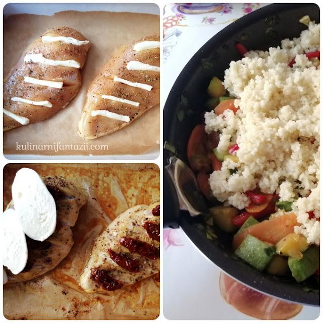 Пилешко филе с моцарела и сушени домати и гарнитура от кускус със зеленчуци