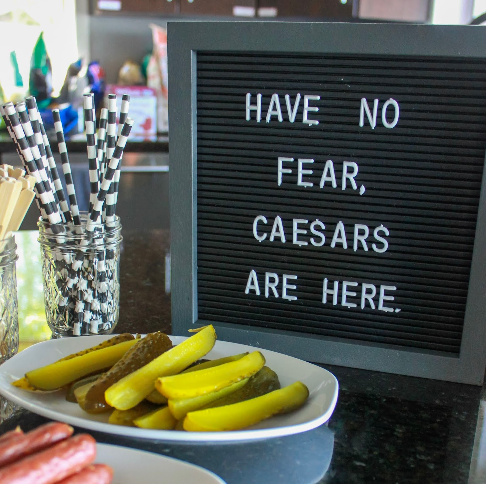 """have no fear, caesars are here"" letterboard"