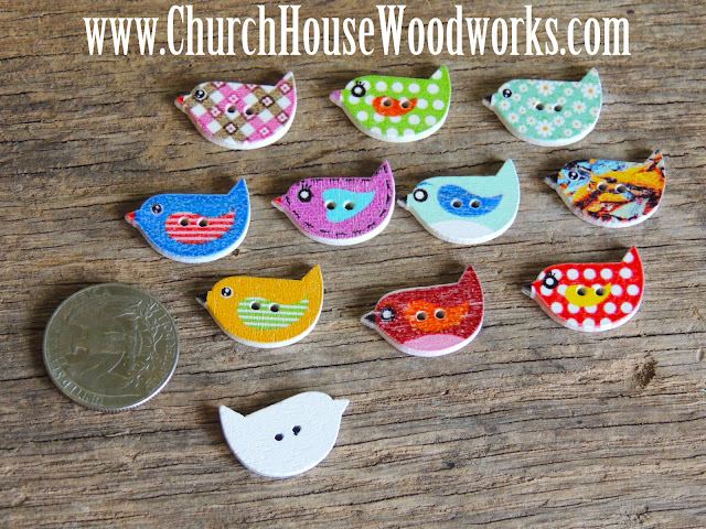 DIY Sewing Little Birdy Bird Buttons by Church House Woodworks