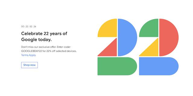 شركة جوجل تقوم بخصم 22% على متجرها في عيد ميلاد تأسيسها