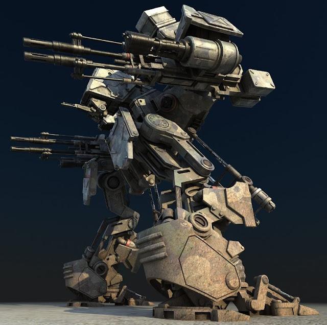 3dsMax高精度戰爭機甲機器人3D模型下載
