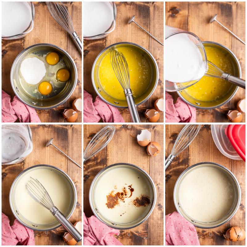 Six photos of the process of making Keto Eggnog (Dairy-Free & Sugar-Free)