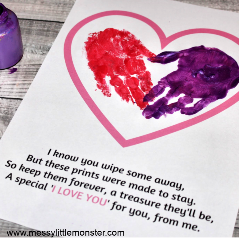Handprint Poem - An adorable handprint heart keepsake