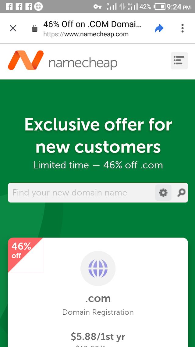 Namecheap 46% Off On .Com Domain