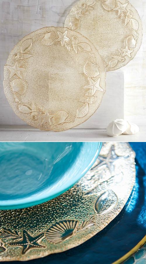 Gold Starfish Seashell Platter Dinnerware