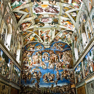 Sistine Chapel ceil paintings by Michelangelo, including many religious depiction in Renaissance.
