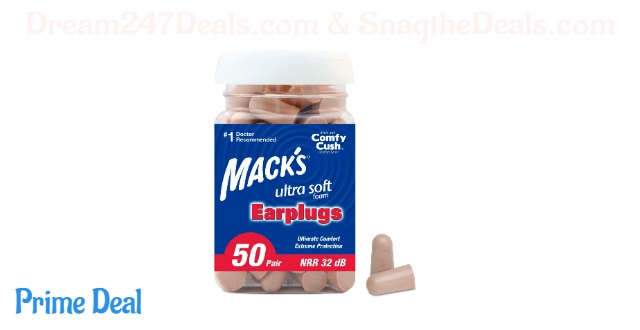 Mack's Ultra Soft Foam Earplugs, 50 Pair - 32dB Highest NRR, Comfortable Ear Plugs for Sleeping, Snoring, Travel, Concerts, Studying, Loud Noise, Work