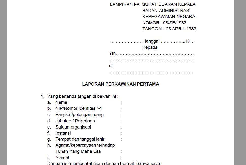 Formulir Laporan Perkawinan Pertama Cpns Pns Lampiran I A Surat Pedia