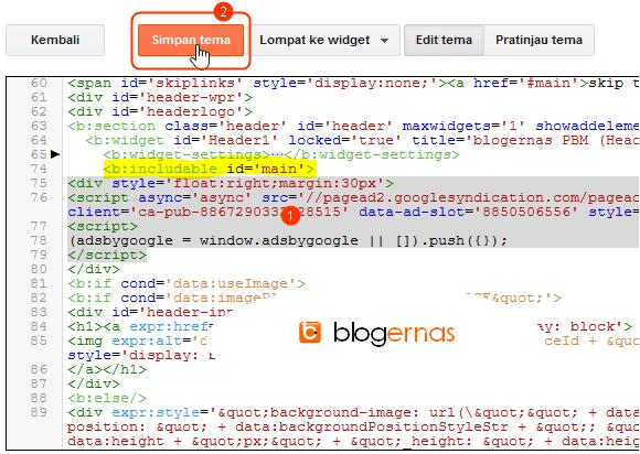 Cara Memasang Iklan Adsense pada Header Blog