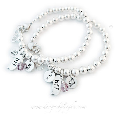 BFF Bracelets with Birthstones and Initial Charms
