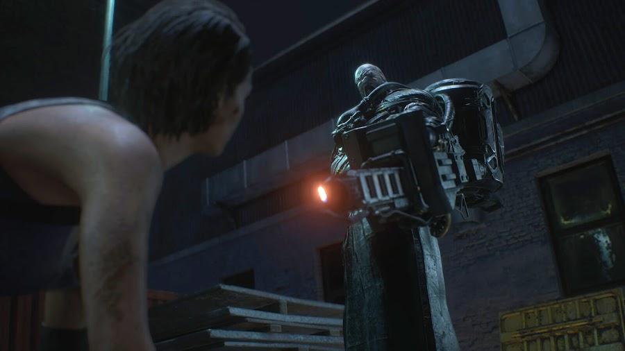 resident evil 3 remake screenshot image nemesis flamethrower