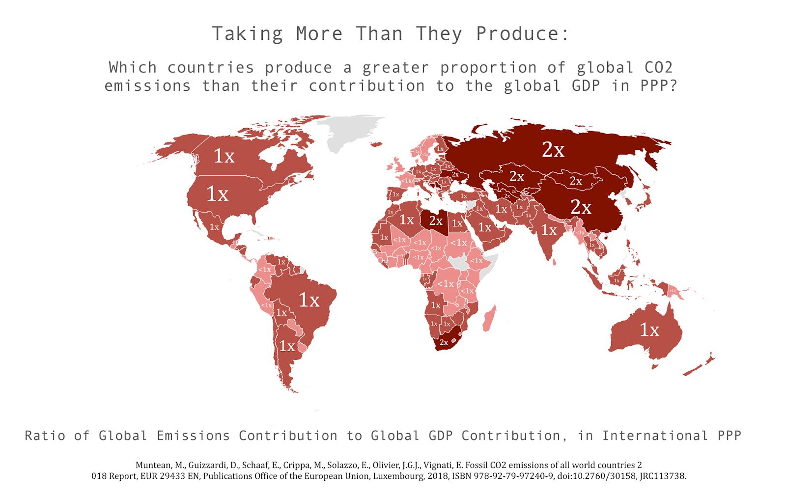 Выбросы CO2 относительно вклада стран в мировой ВВП на душу населения