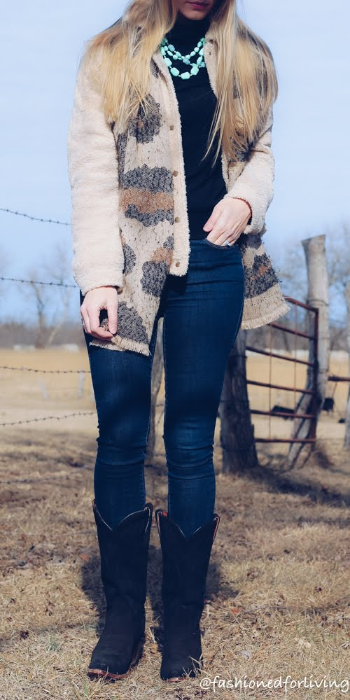 winter cowboy boots outfit