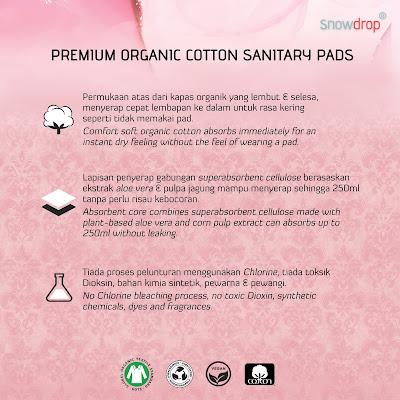 Ciri-ciri Premium Organic Cotton Sanitary Pad