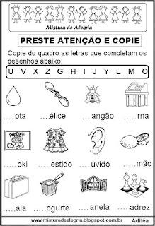 Letras iniciais de desenhos, alfabetização