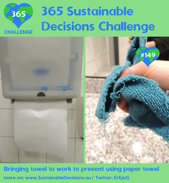 Bringing towel to work to prevent using paper towel reducing waste