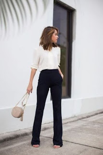 White blouse with black pants