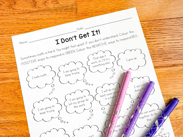 "Photo of ""I Don't Get It"" SEL in Math activity."