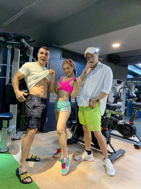 最近勤跑健身房,這週末圓圓還會帶著兩名猛男舞者吉祥跟佩德羅(左),到知名夜店主持加唱跳