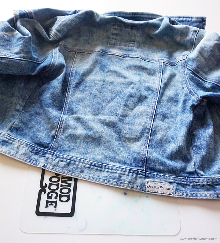 Denim jacket with Mod Podge Silicone Mat