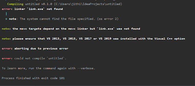 RUST error link.exe not found