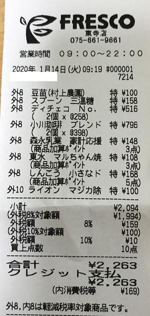 フレスコ 東寺店 2020/1/14 のレシート