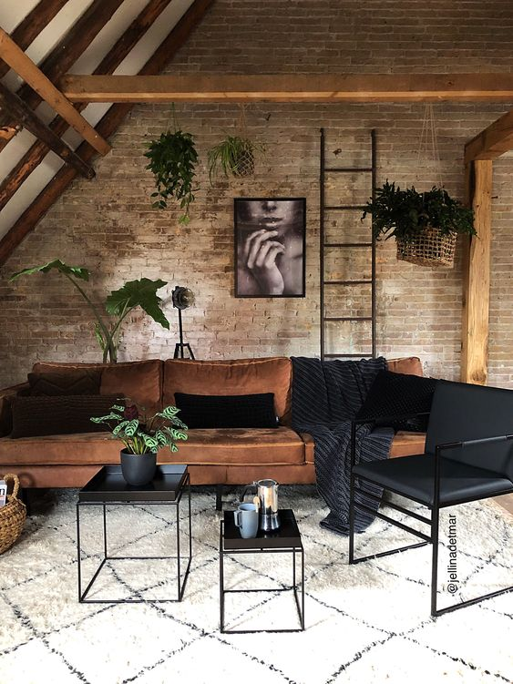 industrial living room decor idea