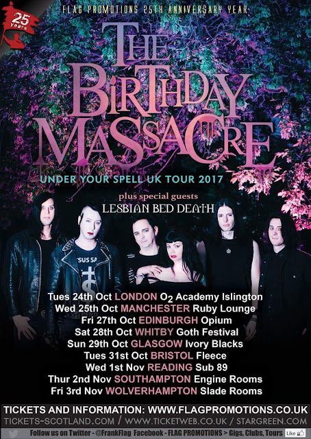 Poster for The Birthday Massacre and Lesbian Bed Death 2017 UK tour