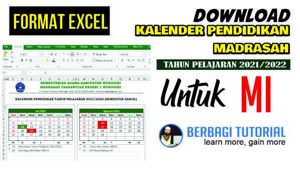Download Kalender Pendidikan MI Tahun Pelajaran 2021/2022 Format Excel