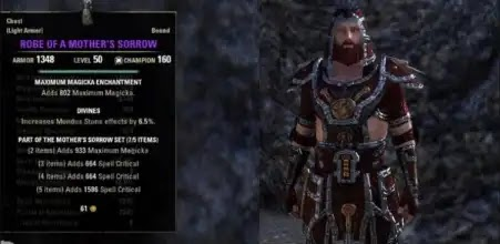 The Mother's Sorrow Set - Light Armor, Jewelry, Weapons