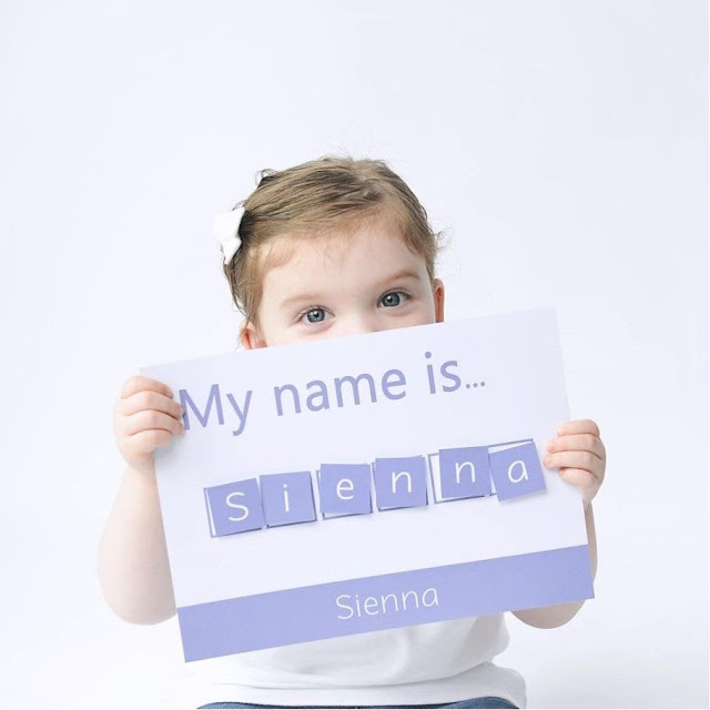 my name is sienna spelling mat copyright Little Boo Learning on Etsy