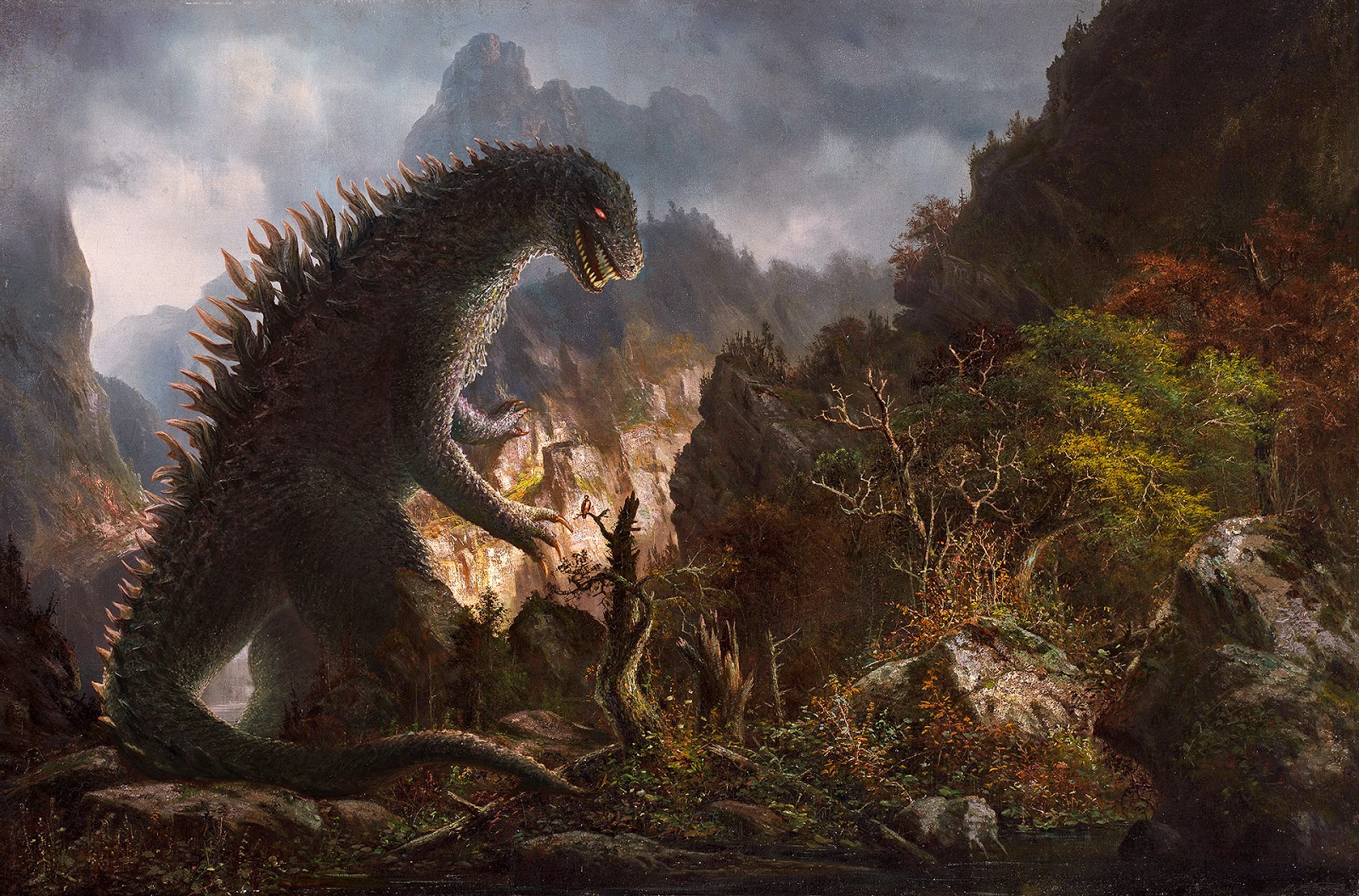 Digital overpainting of Godzilla in the mountain by Hermann Herzog