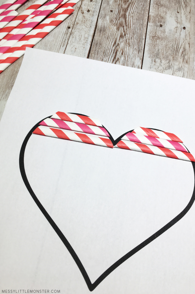 add paper straws to hanging heart craft