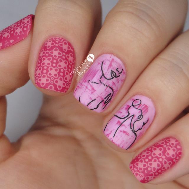 unha decorada para outubro rosa